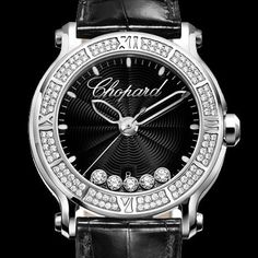Chopard Watch Happy Sport Stainless Steel XL Black Dial with Floating Diamonds and Diamond Bezel 1.59tw