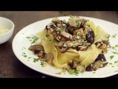 This Eggplant and Mushroom Pappardelle is one of my husband Robert's creations. A bit sweet, a bit spicy, a bit earthy - it has a mouth-watering combination . Baby Food Recipes, Pasta Recipes, Pasta Meals, Food Baby, Pappardelle Recipe, Easy Pasta Dishes, Stuffed Mushrooms, Stuffed Peppers, Eggplant Recipes