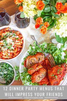 Summer Dinner Party Menu, Casual Dinner Parties, Dinner Party Foods, Recipes Dinner, Elegant Dinner Party, Italian Dinner Parties, Themed Dinner Parties, Italian Dinner Menu, Birthday Dinner Recipes
