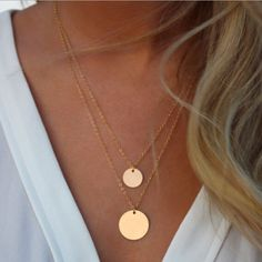 Celebrity Inspired Two Layer Gold Circle Pendant Necklace