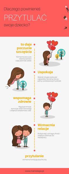 Dlaczego powinieneś przytulać swoje dziecko. Psychologia dziecka, infografika. Child Development, Hand Lettering, Children, Kids, Psychology, Life Hacks, Preschool, Stress, Parenting