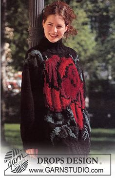 Free knitting patterns and crochet patterns by DROPS Design Intarsia Knitting, Sweater Knitting Patterns, Knit Patterns, Free Knitting, Drops Design, Magazine Drops, Knitted Flowers, Chenille, Cotton Viscose