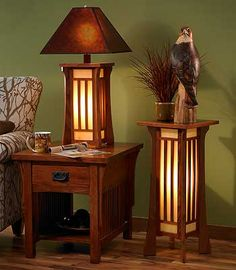 Craftsman style lighting.Like the end table and the table lamp