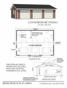 3 Car Garage Plan 844-1 by Behm Design