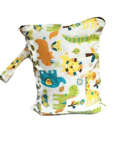 Cloth Diaper Wet Bag Zippered Wet Bag Waterproof by TheFuzzyStitch