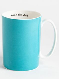 A classy turquoise mug with an inspirational quote lining the inner rim. Thanks, Kate Spade!