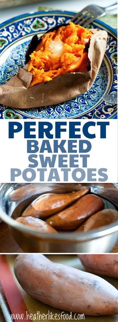 Creamy and tender, these perfectly baked sweet potatoes #thanksgivingside recipe are everything you want your potato to be!
