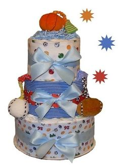 All Diaper Cakes - Deluxe Sports Themed Diaper Cake, $89.95 (http://alldiapercakes.com/deluxe-sports-themed-diaper-cake/)
