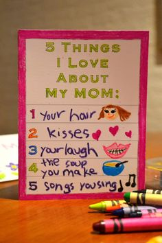 "Printable Mother's Day Card For Kids {5 Things I Love About My Mom""} Print  Personalize!  #mothersday #kids #crafts"