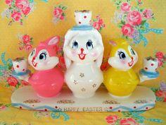 Holt Howard Vintage Easter Bunny Ceramic Candle Holder