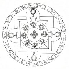 Tibetan Mandala | See: bibliodyssey.blogspot.com/2012/04/wor… | Flickr Printable Crafts, Printables, Tibetan Mandala, Mandala Coloring Pages, Free Printable Coloring Pages, Vintage Frames, Mandala Design, Sacred Geometry, Art Images