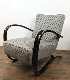 """1940s lounge armchair designed by the architect Jindrich Halabala. Model """"Easy chair"""" H269"""" Manufactured by UP Zavody Brno Czech Republic"""