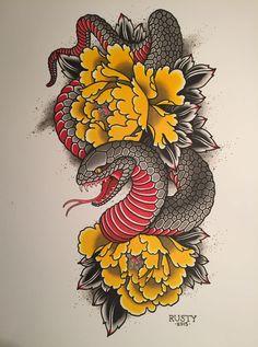 Alex Rusty - Japanese snake + peony painting