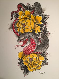Alex Rusty - Japanese snake + peony painting