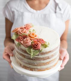Naked Cake with Marzipan Flowers - web ready hero                                                                                                                                                     More Fondant Flower Cake, Buttercream Flowers, Buttercream Cake, Icing Flowers, Fondant Cakes, Cupcake Cakes, Marzipan Cake, Cake Chocolat, Pineapple Cake