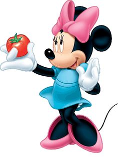 Minnie with a freshly picked tomato. Minnie Mouse Clipart, Mickey Minnie Mouse, Walt Disney Characters, Mickey Mouse Wallpaper, Walt Disney Company, Love Me Forever, Mickey And Friends, Disney Food, Disney Pictures