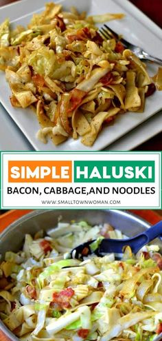 Haluski is an easy St Patricks day recipe that combines bacon, cabbage, egg noodles, garlic, and seasonings! It comes together so quickly and is simple enough for novice cooks. Save this healthy side dish recipe for lunch or dinner! Healthy Side Dishes, Vegetable Dishes, Side Dish Recipes, Lunch Recipes, Vegetable Recipes, Dinner Recipes, Cooking Recipes, Sprouts Vegetable, Healthy Recipes