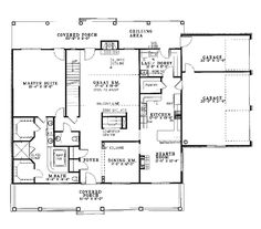 First Floor Plan of Country   House Plan 62044