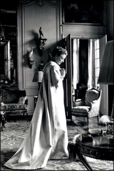 The legendary Countess Mona Von Bismarck, patron of Haute Couture and eminent Balenciaga client photographed by Cecil Beaton in her Paris apartment.
