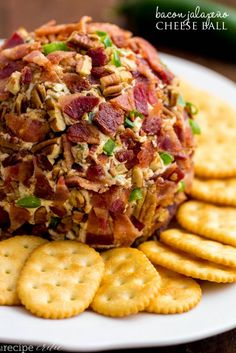 Jalapeno Bacon Cheese Ball is a creamy, soft cream cheese ball mixed with a little spice from jalapeños and added spices rolled in crunchy bacon, chopped green onions and salty pecans. This is the perfect holiday appetizer! Finger Food Appetizers, Holiday Appetizers, Yummy Appetizers, Appetizer Recipes, Holiday Parties, Thanksgiving Appetizers, Thanksgiving Recipes, Stuffed Jalapenos With Bacon, Jalapeno Bacon
