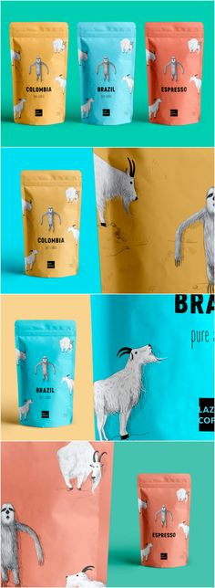 A Sleepy Mountain Sloth Illustration Used to Highlight the Benefits of a Coffee Brand Design Agency:R Agency Brand / Project Name:Lazy coffee Location:Ukraine Category:#Beverages #Tea  World Brand & Packaging Design Society