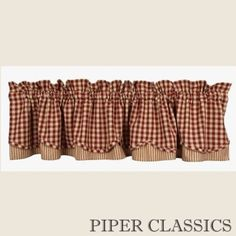 Our 100% cotton valance is fully lined and measures 72 inches wide by 15.5 inches long, with a 2.5 inch rod pocket and 2 inch header. Total length includes header and rod pocket. Coordinating window treatments are also available, sold separately. Shirr on conventional curtain rod. #country #plaid #curtains #valance