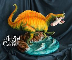 """Spinosaurus Smiles - 8/16/15 - Happy Birthday! I give you """"Spinosaurus aegyptiacus"""", made for an awesome kiddo for his 9th birthday!! This was my first Icing Smiles, Inc. cake, and it was such a great experience. The Birthday Boy is a """"Dinophile"""", and so am I! Spino is his favorite, and I had such fun making and researching this critter, who hunted along shorelines for rays, large fish, and sharks!! Yum! This shark is made from modeling chocolate, Chocolate cake fill Spino's back and the…"""