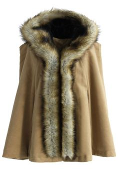 #IMOBESSED Luxury Khaki Faux Fur Hooded Cape