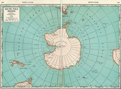 1937 Map of the South Pole Region from World Atlas.