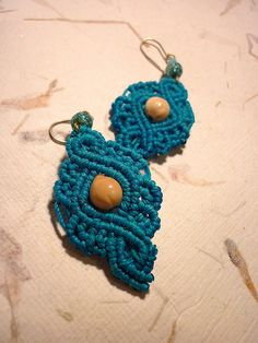 Turquoise ancient lace macrame earrings by utilart, via Flickr