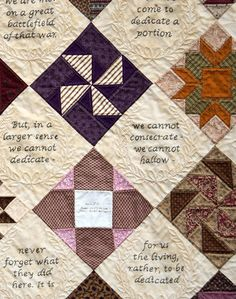 Little quilt  w/Gettysburg Address in setting blocks. I would love to see the entire quilt
