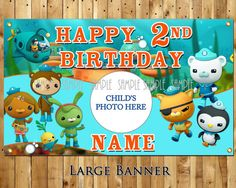 4 ft x 2.4 ft Octonauts birthday party banner personalized decoration vinyl backdrop