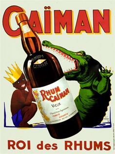 Caiman Rhum by Igert 1936 France - Beautiful Vintage Poster Reproductions. French wine and spirits poster features a boy in a crown hiding behind a bottle of Rum from an crocodile. Giclee Advertising Print. Classic Posterse