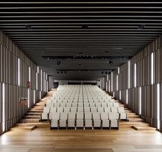 VAUMM arquitectura y urbanismo, Fernando Guerra / FG+SG · Basque Culinary Center Auditorium Architecture, Theatre Architecture, Auditorium Design, School Architecture, Interior Architecture, Acoustic Architecture, Design Hall Entrada, Hall Design, Theatre Design