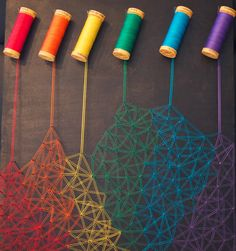 """""""I attempted some dripping crayon art"""", a tongue-i Arte Linear, Drip Art, Diy And Crafts, Arts And Crafts, Nail String Art, String Art Patterns, String Art Tutorials, Thread Art, Thread Spools"""