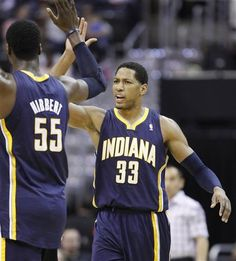 Pacers starting lineup shot 71%. hi-five, Granger!