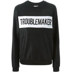 Zoe Karssen Troublemaker Sweatshirt (€150) ❤ liked on Polyvore featuring tops, hoodies, sweatshirts, black, black cotton sweatshirt, zoe karssen, black cotton top, cotton sweat shirts and sweat shirts