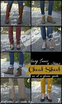 Cheat Sheet: How to wear Jeans & Shoes (Ma Nouvelle Mode) Looks Cool, Looks Style, Style Me, Look Fashion, Fashion Beauty, Fashion Tips, Fashion Basics, Tomboy Fashion, Fashion Fashion