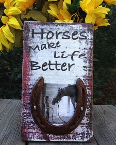 Rustic Wood Sign For Barn, Horse Person Or Friend. Made From Old Fence Board & A…