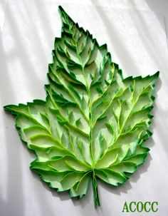 Maple Leaf Paper Quilling & Watercolour Series Leaves by aCoCC