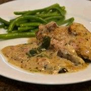 Chicken with Spinach and Mushroom Sauce - Musings of a Housewife I plan to leave the cheese out of the sauce and serve with cheesy polenta. Spinach Stuffed Mushrooms, Spinach Stuffed Chicken, Baked Chicken, Mushroom Sauce, Food For Thought, Dinner Recipes, Dinner Ideas, Main Dishes, Chicken Recipes