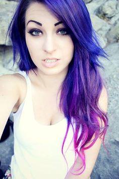 Indigo to Pink Ombre Hair Ombré Hair, Dye My Hair, Emo Hair, Love Hair, Gorgeous Hair, Amazing Hair, Pelo Guay, Pink Ombre Hair, Purple Ombre