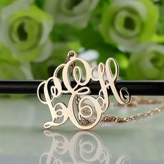 """Customize 1.5"""" Monogram Necklace with Name Custom 18k Rose Gold Plated Over Silver Cut 3 initials Monogrammed Nameplate Necklace"""