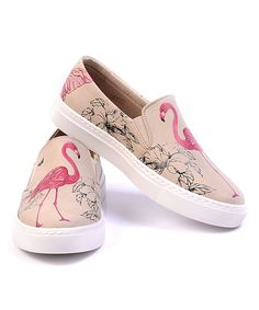 Look at this Goby Beige & Pink Flamingo Slip-On Sneaker on #zulily today!