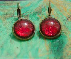 Red and black earrings Hand-painted earrings resin by MadebyLaure