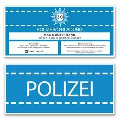 Einladungskarten zum Geburtstag als Polizeivorladung Polizei Einladung Blau