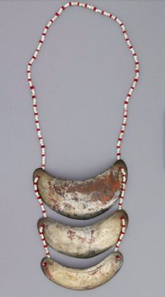 Gorgets, beads/metal, c. 1760/1820.  this was the type of status object made for Native men by Euro-Canadians and Euro-Americans as a trade item up until around 1820.