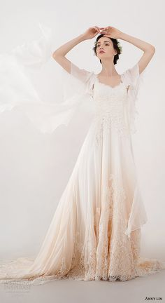 anny lin bridal 2016 briana delicate beadwork flutter sleeves wedding dress ombre peach