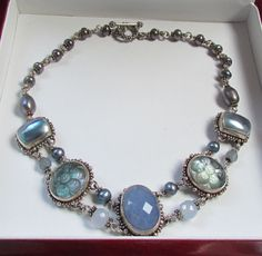 Stephen Dweck Sterling Silver Chalcedony Moonstone Pearl Necklace #StephenDweck #Collar