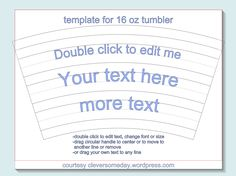 Free tumbler template for Silhouette Studio. Great for using vinyl on curved tumbler surface.